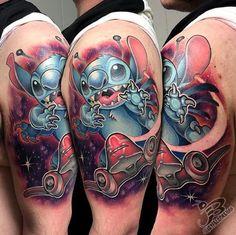 Jay Blackburn - New School Stitch and spaceship tattoo