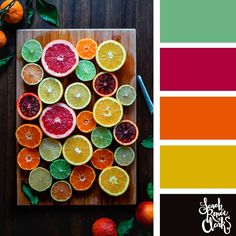 Citrus colors // Summer Color Palettes // Click for more color schemes, mood boards and color combinations inspired by Summer at https://sarahrenaeclark.com #color #colorscheme #colorpalette