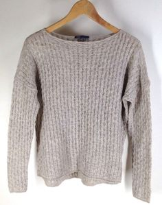 $119 Vince Mini Cable Shirttail Sweater Beige XS Wool Alpaca Camel Retail 285 New Flaw
