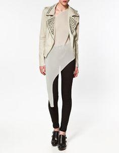 zara studded white leather jacket