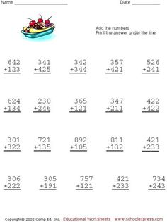 Free Addition Worksheets, 3 Digits No Carrying