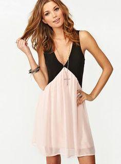 Adorable Color Block Sleeveless Deep V-neck Dress