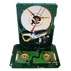 Painted Hard Drive Clock with Golden Disk Clamps and by TECOART