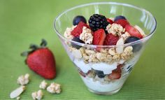 Berries 'n Cream Parfait Recipe-  An easy, delicious combo of fresh berries, yogurt and Sweet Home Farm French Vanilla Granola!