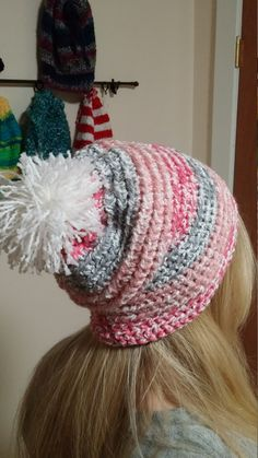 Check out this item in my Etsy shop https://www.etsy.com/listing/290323039/crochet-hat-slouchy-beanie-pink-gray
