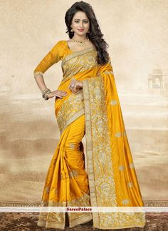 Designer saree and trendy saree available in a variety of latest designs. Shop this trendy embroidered and resham work yellow designer saree. Online Shopping Sarees, Party Sarees, Trendy Sarees, Designer Sarees Online, Art Silk Sarees, Traditional Sarees, Online Collections, Indian Ethnic Wear, Beautiful Saree