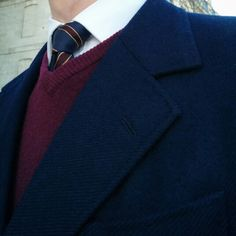 Vintage heavy wool tailored jacket and seven folds Gieves & Hawkes tie.