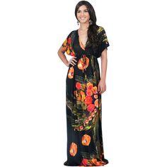 Koh Koh Black Maxi Dress, Kimono Sleeve Emma Floral Print, Medium (€49) ❤ liked on Polyvore featuring dresses, maxi dress, black, floral party dress, kimono sleeve maxi dress, floral maxi dress, flower print dress and floral dresses