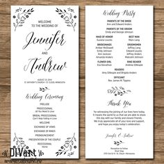 Flower Wedding Program, Ceremony Program - PRINTABLE files - rustic wedding, garden wedding, print on kraft cardstock - Harriet by DIVart on Etsy