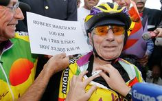 A French centenarian will try to ride his way into the record books on Friday by becoming the fastest cyclist of his age to cover 100 km. Recorded Books, Finish Line, World Records, Year Old, Captain Hat, The 100, Cycling, Centenarian, French