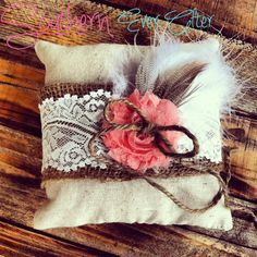 CHOOSE COLORS / Rustic Ring Bearer Pillow / by SouthernEverAfter