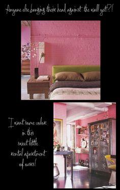 Ecclectic Apartment with Bubblegum Pink Brick- not pink, but ecclectic mixture of stuff