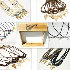 WHOLESALE Lot 72 Sharks Teeth Necklaces & Wood Counter Display Shark Tooth ST-6 #GrassShackTrading