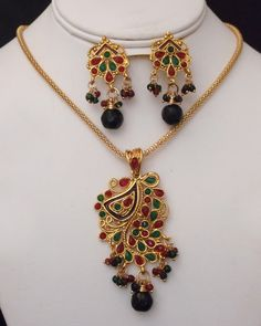 Antique Gold plated necklace with pendant embedded with green and red stones-21ATQP  http://www.craftandjewel.com/servlet/the-1283/Antique-Gold-plated-necklace/Detail