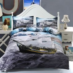 Activity Chic Ship Pattern Duvet Cover Full Size 4 Pcs Bedding Set (Without Comforter)