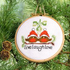 So sweet - live laugh love under the Mistletoe Christmas Ornaments set of 3 cute festive robin by BirdSaysTweet