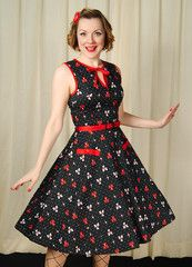 1950s VooDoo Vixen Alley Cat Bowling Swing Dress available in SM