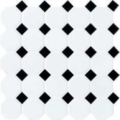 Daltile Matte White with Black Dot 12 in. x 12 in. x 13 mm Ceramic Octagon/Dot Mosaic Tile (10 sq. ft. / case)-65012OCT21CC1P2 - The Home Depot