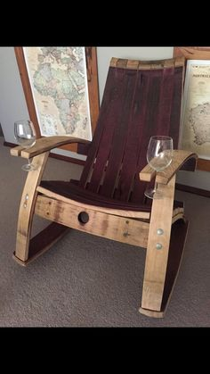 Wine barrel chair with holder Wine Barrel Diy, Wine Barrel Chairs, Barrel Table, Bourbon Barrel Furniture, Rustic Furniture, Furniture Design, Handmade Furniture, Modern Furniture, Barris