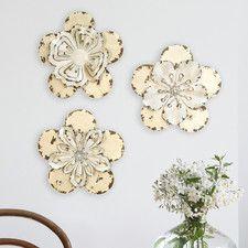3 Piece Rustic Flowers Wall Décor Set