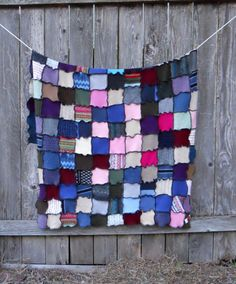 Recycled Sweater Patchwork Quilt Colorful Blanket Afghan Upcycled Throw Handmade Stained Glass Look via Etsy