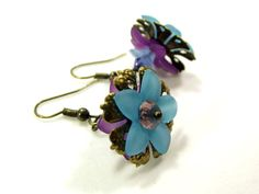 Blue and Lavender Lucite Flower Earrings by CharmingAccessory