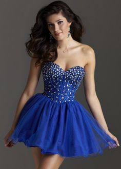 Clarisse 2212 - Royal Blue Strapless Beaded Homecoming Dress