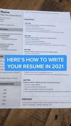 Resume Help, Job Resume, Resume Tips, Resume Examples, Resume Writing Tips, Resume Skills, Writing Skills, Job Interview Preparation, Job Interview Tips