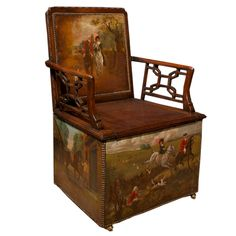 George III Hunt Chair (concealed chamberpot toilet chair!), England  18th Century. Unusual George III mahogany arm chair with beautifully painted polychrome hunt scenes on leather panels on the backrest and lower sides all around. The lift seat (hiding the chamber pot) flanked by a pair of pierced arms of graceful interlocking fret designs.