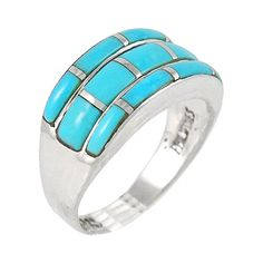 925 Sterling Silver Ring with Genuine Turquoise Sizes 6 to 11 8 ** Continue to the product at the image link. (This is an affiliate link) Turquoise Rings, Turquoise Gemstone, Italian Gold Jewelry, Fashion Rings, Women's Fashion, Sterling Silver Rings, Gemstones, Claddagh, Gold Jewellery