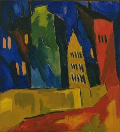 Karl Schmitt-Rottluff, Houses at Night, 1912