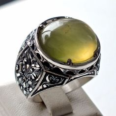 925 Sterling Silver mens ring with IDOCRASE - unique handcrafted jewelry #KaraJewels #Handmade