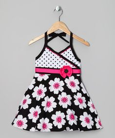 Take a look at this Hot Pink & Black Daisy Dress - Toddler by Rare Editions on #zulily today!