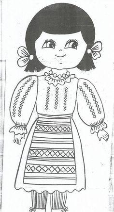 Planse De Colorat Copii In Costum Popular ~ Gratuit pentru a imprima