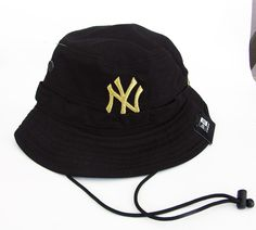MLB New York Yankees Black Gold Embroidered New Era Bucket Rare Cap Hat  Med.  NewEra  Bucket dcd36657c39d