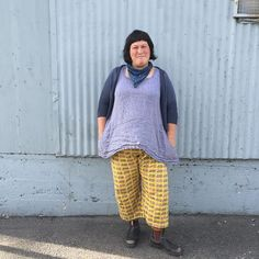 Sheep Pants Sunday #handmadewardrobechronicles Featherweight cardigan by @knitbot; modified #100actsofsewing Dress no. 1; pants (own pattern); handknit socks; and Blundstones