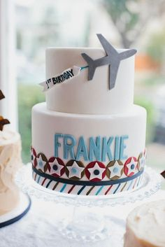 Vintage Airplane Birthday party // Sweet and Saucy // Posh Paperie // © Jackie Wonders Photographer 2012 Airplane Birthday Cakes, First Birthday Cakes, Boy Birthday Parties, Airplane Cakes, Airplane Banner, Guy Birthday, Airplane Party, Birthday Ideas, Planes Cake
