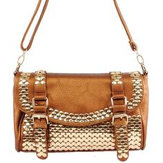 Click Here and Buy it on Amazon.com Price:$39.99 Amazon.com: MMS New Arrival Fashion Unique Golden Round Rivet Stud and Buckle Detailed Solid Embossed Messanger Bag / Crossbody Bag in Bronze: Clothing