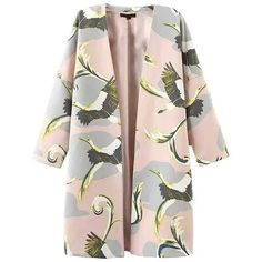 Crane Print V-Neck Three Quarter Sleeve Trench Coat (€25) ❤ liked on Polyvore featuring outerwear, coats, print coat, cotton coat, pink coat, 3/4 sleeve coat and cotton trench coat