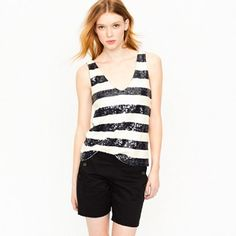 HP J. Crew Sequin Tank Top Gorgeous stripe sequin tank top in navy blue and white. This is a beautiful piece and whether you are dressed casual or not it will make you sparkle . The sequins are front and back as shown in picture 3. Only worn 3 times. It has 2 super tiny stains not visible unless you look for them. I tried to show one in picture 4. HP Casual Friday 11/20/15 OUT OF TOWN UNTIL 7 DECEMBER. ORDERS WILL BE SHIPPED 8 DECEMBER J. Crew Tops Tank Tops