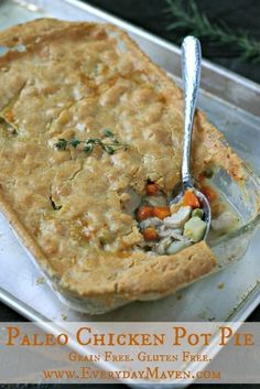 Paleo Chicken Pot Pie with a 100% grain-free and gluten-free light and flakey crust! All real food, clean eating ingredients!