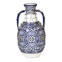 Hand Painted Moroccan Vase with Handles