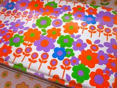 LargeVintage French Funky flowers Tin 1970s by Pommedejour on Etsy, $47.00