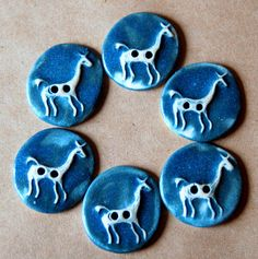 Handmade Ceramic Buttons  6 Llama Buttons in Denim by beadfreaky, $12.00