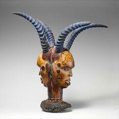 Headdress: Janus  Date:19th–20th centuryGeography:Nigeria, Lower Cross River regionCulture:Ejagham or Bale peoplesMedium:Wood, hide, pigment, cane, horn, nails