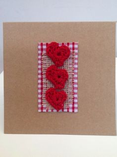 Red crochet mini hearts. by LoveheArtcards on Etsy, $4.50
