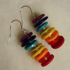 Rainbow Button Earrings • Free tutorial with pictures on how to make a pair of button earrings in under 5 minutes