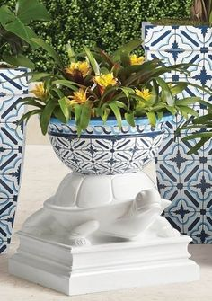 A glossy white finish and high-contrast pattern, inspired by Grecian tiles, creates a fresh showpiece that draws from time-honored symbology. Handpainted using fade-resistant paint and crafted from durable double-walled polyester resin so it can also be used as a beverage tub. Whether overflowing with foliage, blooming with blossoms, holding drinks or presented as a standalone sculpture, it's a vibrant accent for indoors or out. Trough Planters, Garden Planters, Beverage Tub, Lounge Chair Cushions, Boxwood Topiary, Hand Molding, Furniture Covers, High Contrast, Planter Boxes