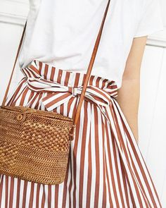 Outfit Recipe | railroad stripe paperbag skirt and white t-shirt. Fresh spin on a Classic outfit. <3 the woven purse