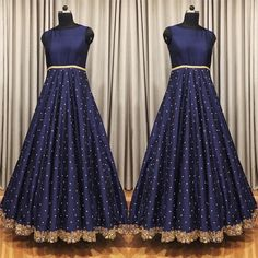 dark blue banglori silk long partywear gown Nice design and fitting can change color if needed Indian Long Gowns, Indian Wedding Gowns, Indian Gowns Dresses, Bridal Dresses, Indian Outfits, Girls Dresses, Simple Gown Design, Long Gown Design, Gown Party Wear